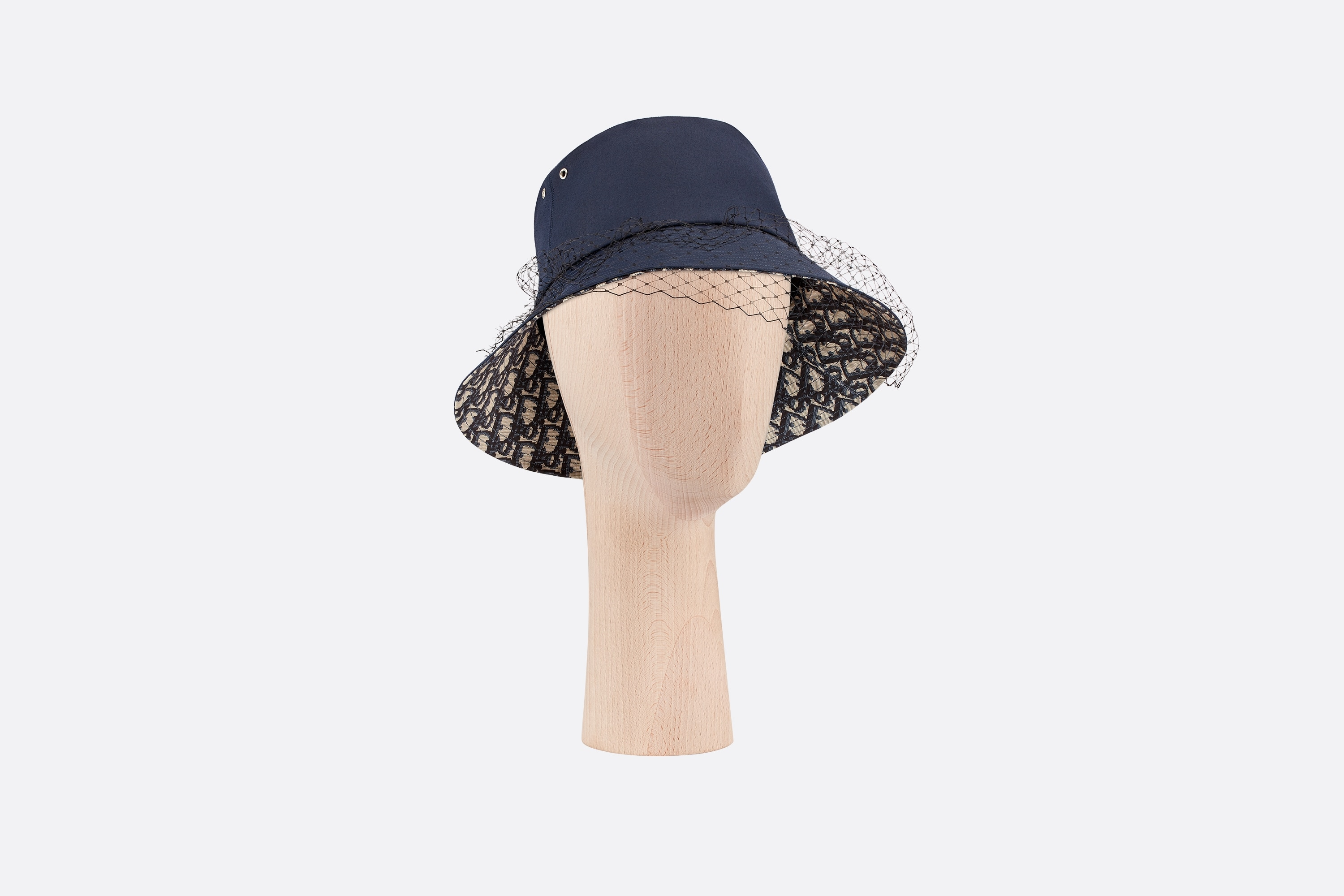 Teddy-D Large Brim Bucket Hat with Veil Three quarter closed view Open gallery