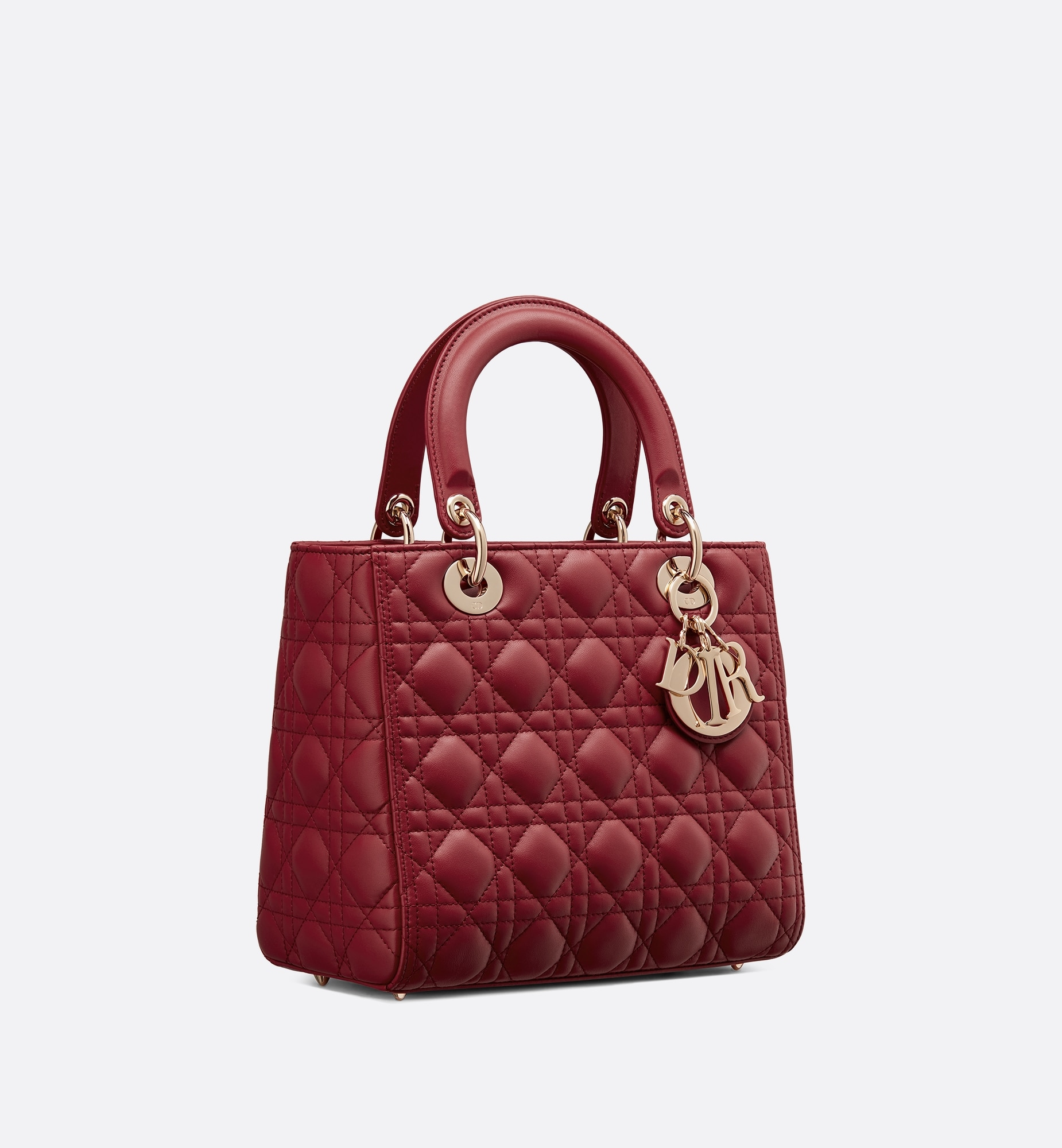 Medium Lady Dior Bag Three quarter closed view Open gallery