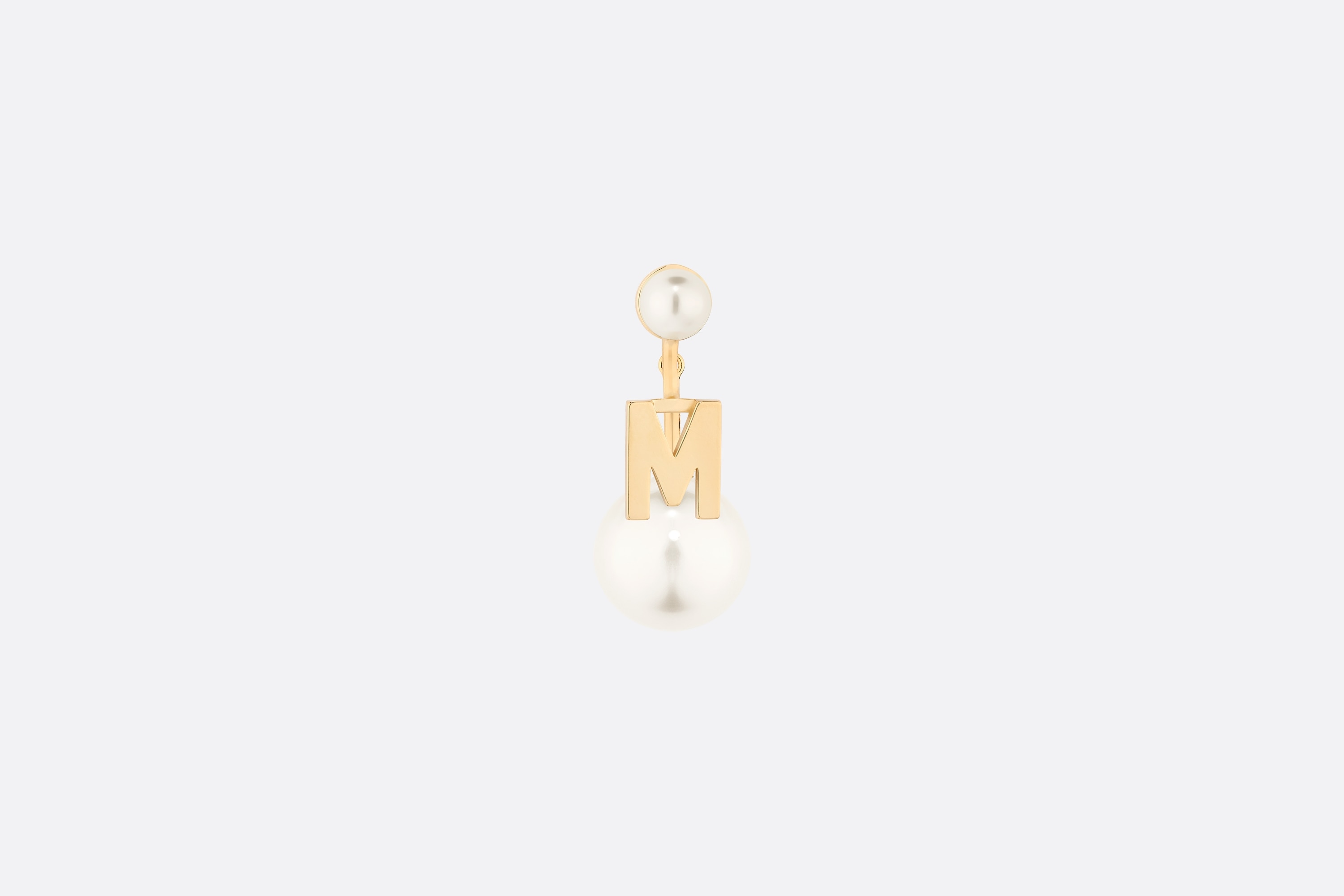 My ABCDior Tribales Letter M Earring Front view Open gallery