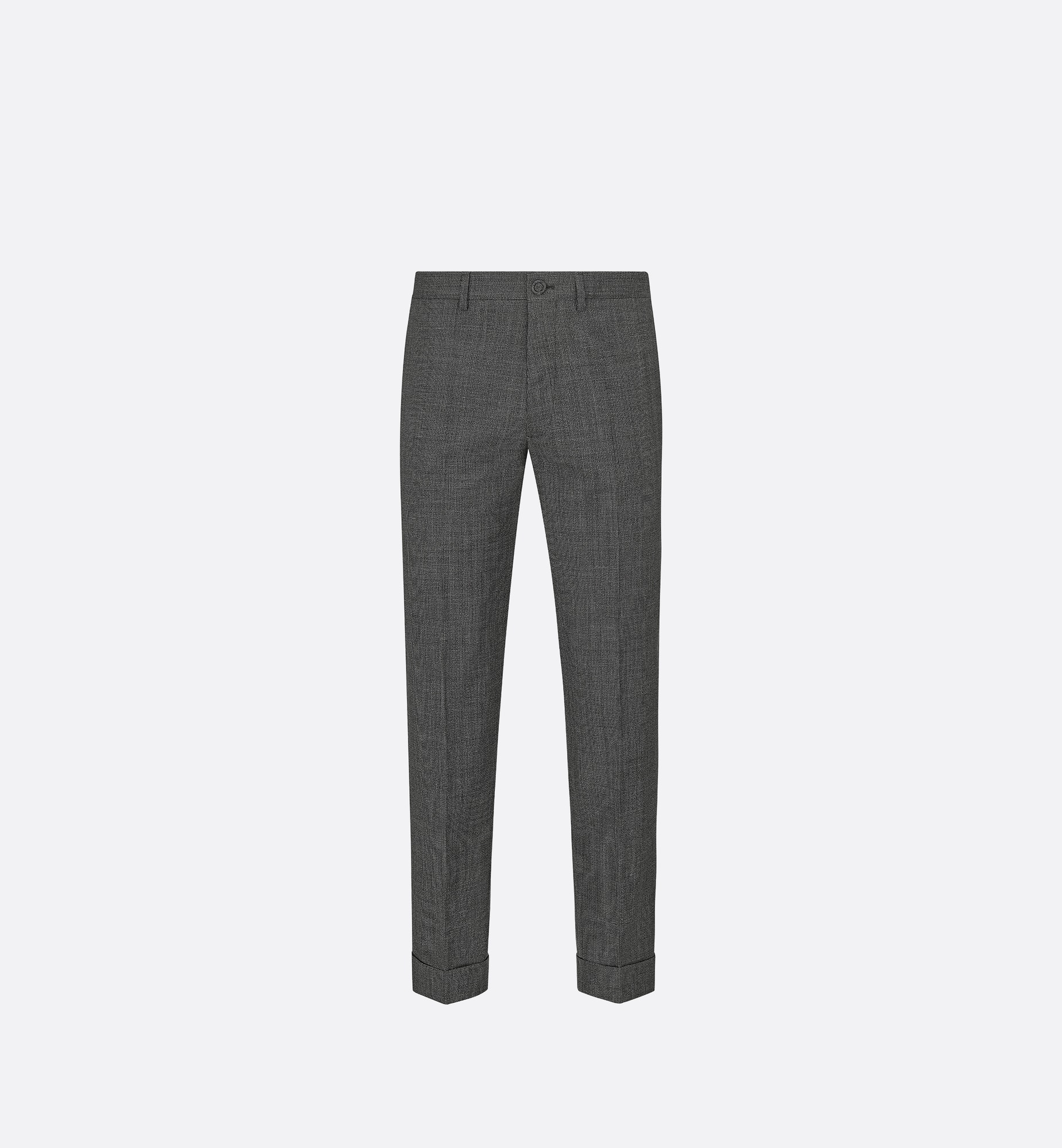 micro-houndstooth tailored chino pants with cuffs | Dior Front view