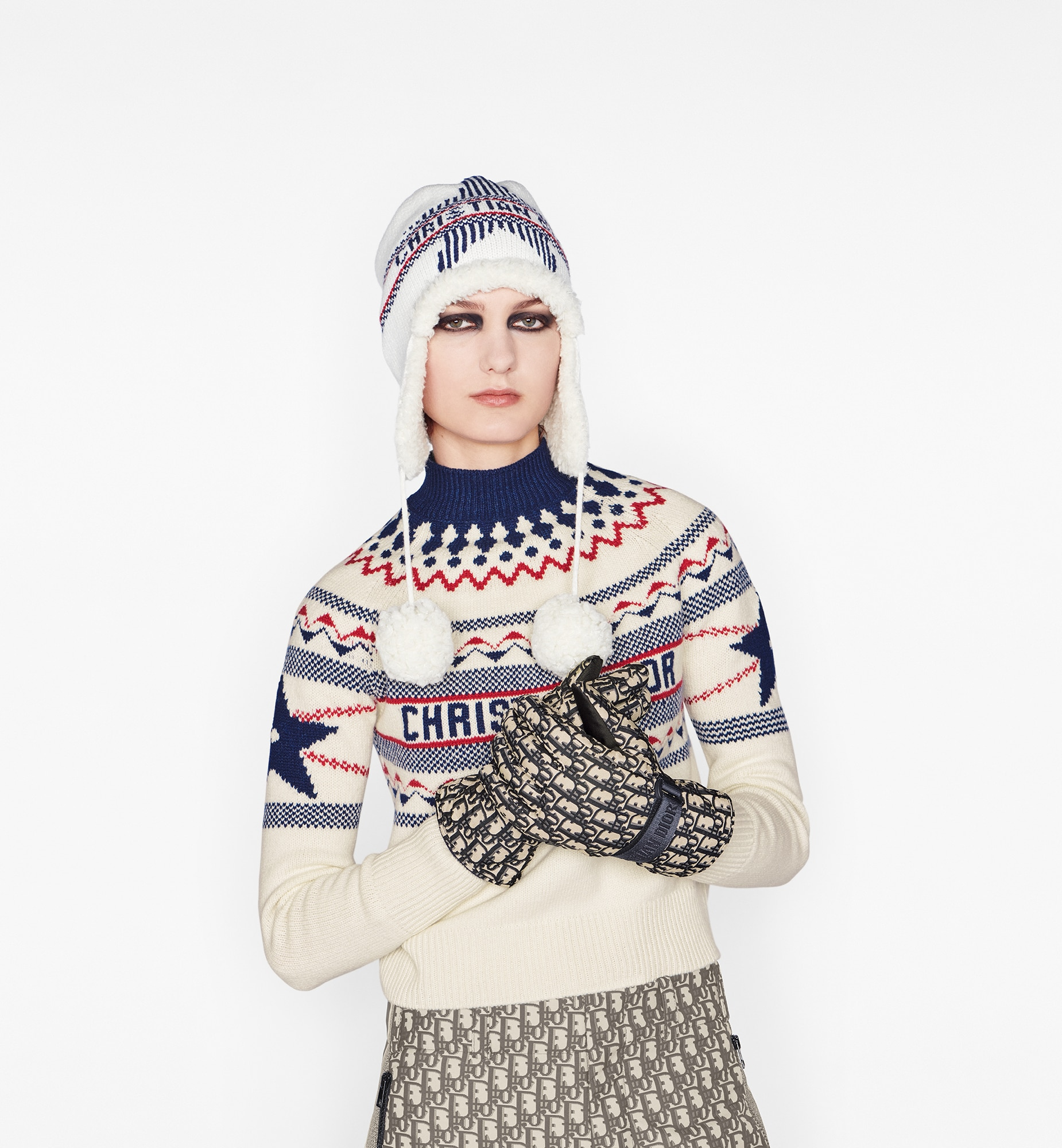 Dior Oblique Ski Gloves Worn view cropped Open gallery