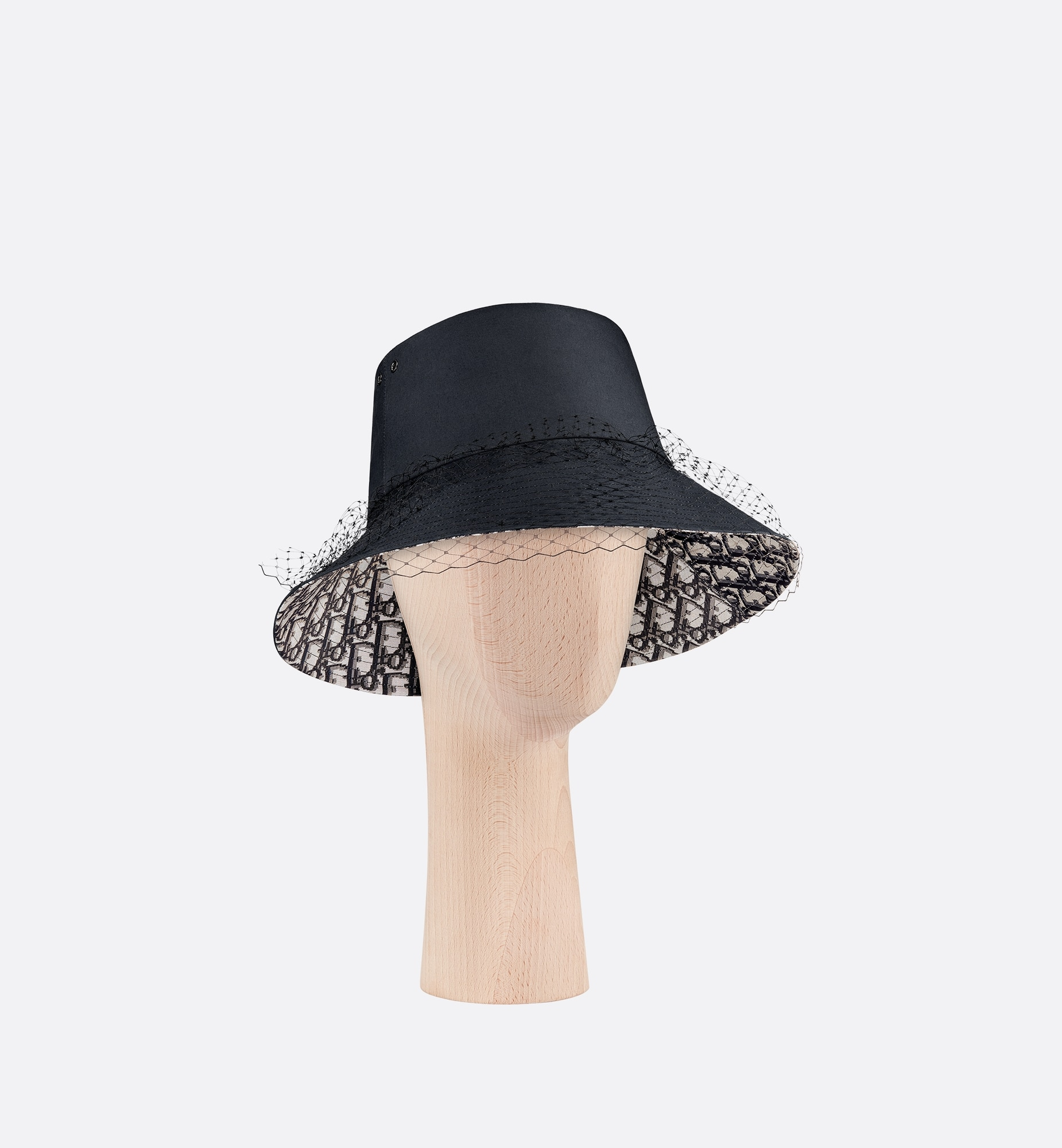 Teddy-D Large Brim Bucket Hat with Veil Three quarter closed view
