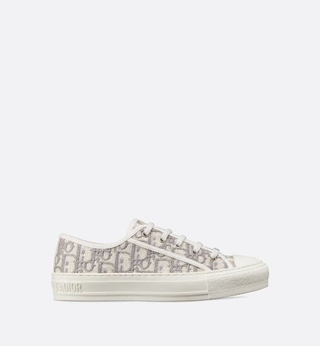 Gray Walk'n'Dior Dior Oblique Embroidered Cotton Sneaker front view