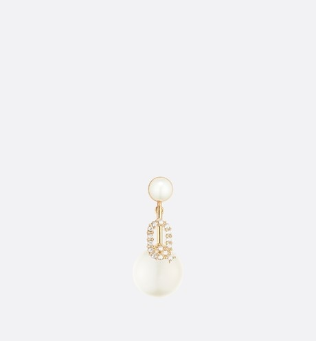 White Resin Pearl and Crystal Letter 'Q' My ABCDior Tribales Gold-Finish Earring front view