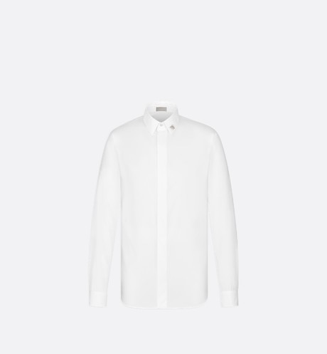White Cotton Poplin Dress Shirt with Jewel Bee aria_frontView