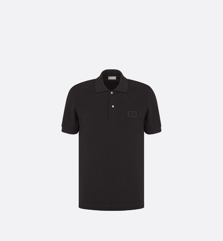 Black Cotton Piqué Polo Shirt with 'CD Icon' Logo aria_frontView