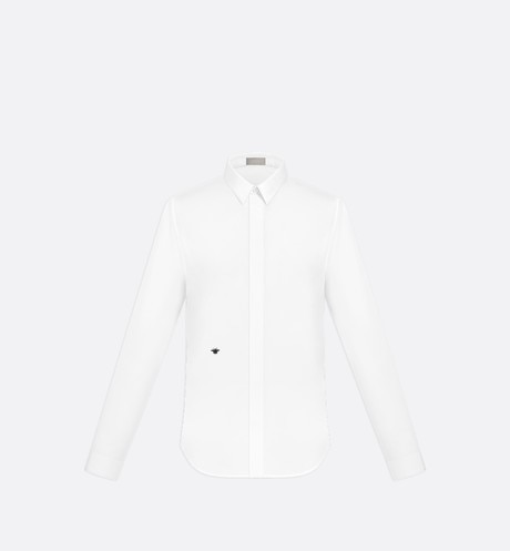 White Cotton Poplin Dress Shirt with Bee Emblem aria_frontView