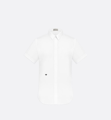 White Cotton Poplin Short Sleeve Shirt with Bee Emblem aria_frontView