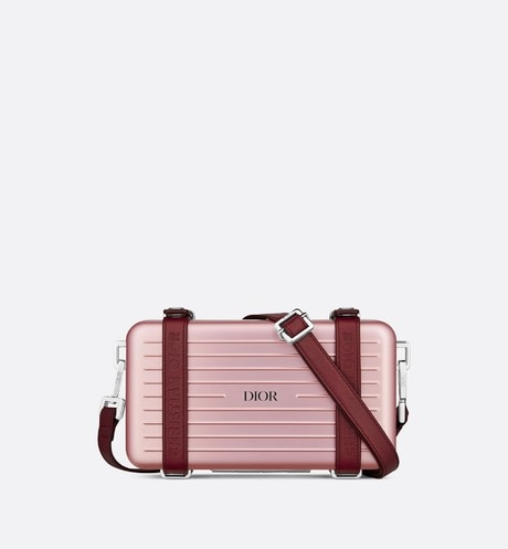 Pink DIOR AND RIMOWA Aluminum Personal Clutch on Strap front view