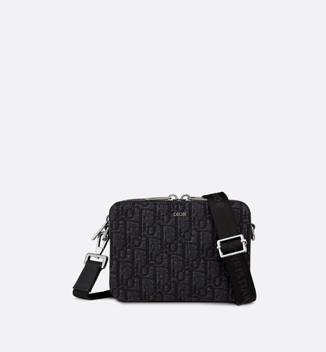 Black Dior Oblique Jacquard Wallet with Strap front view