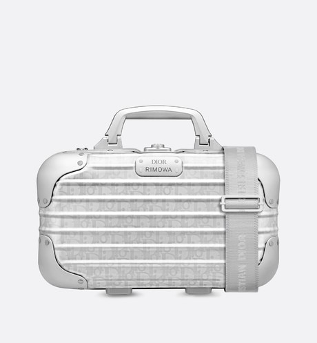 Silver DIOR AND RIMOWA Dior Oblique Aluminum Carry-On Case front view