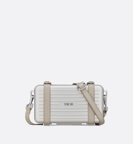 Silver DIOR AND RIMOWA Aluminum Personal Clutch on Strap front view