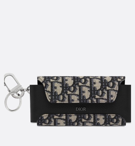 Beige and Black Dior Oblique Jacquard Glasses Case front view