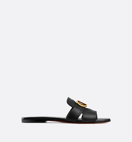 Black 30 Montaigne Slide Calfskin Mule front view