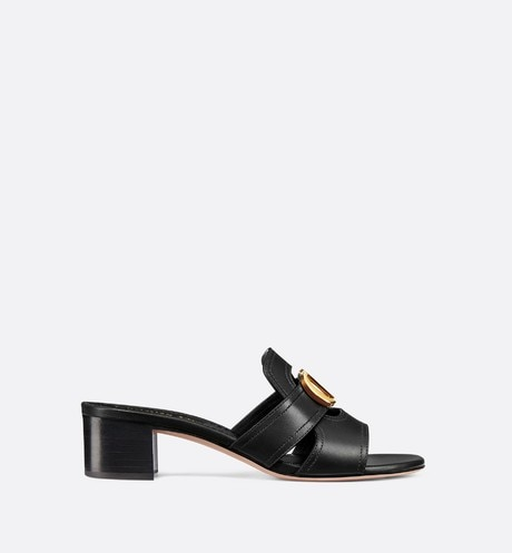 Black 30 Montaigne Slide Calfskin Heeled Mule front view