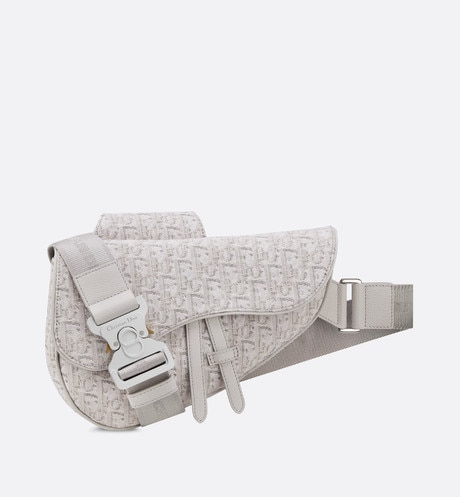 Beige Dior Oblique Jacquard Saddle Bag front view