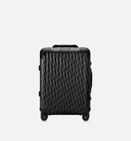 Black DIOR AND RIMOWA Dior Oblique Aluminum 4-Wheel Cabin Suitcase front view