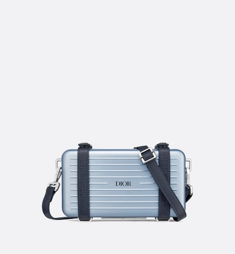 Blue DIOR AND RIMOWA Aluminum Personal Clutch on Strap front view