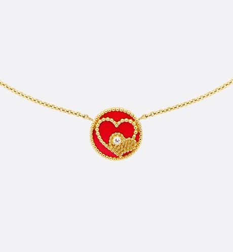 Rose des Vents necklace with Heart motif, 18K yellow gold, diamond and red ceramic front view