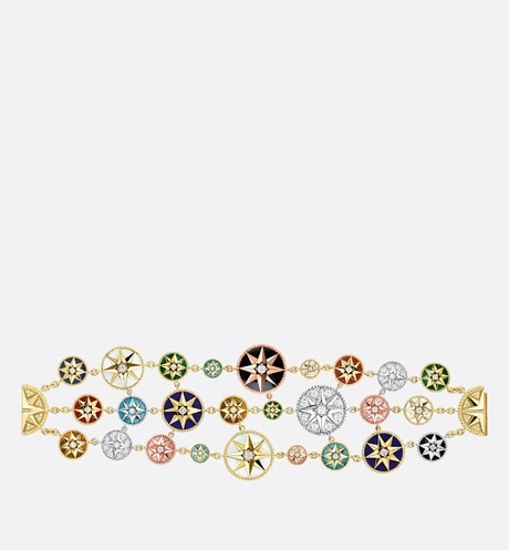 Rose des vents bracelet in 18K yellow, pink, and white gold, diamonds, and hard stones front view