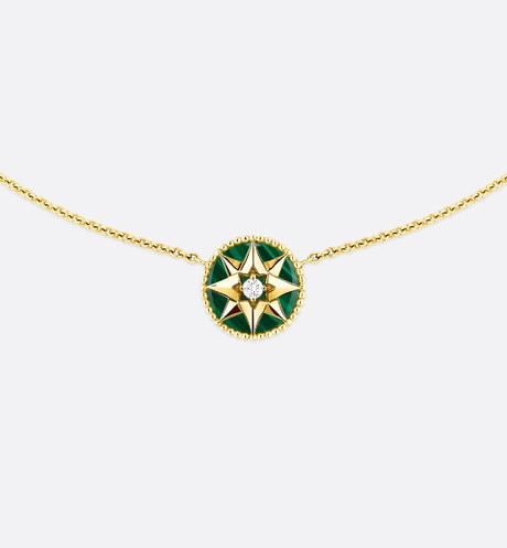 Rose des vents necklace, 18k yellow gold, diamond and malachite front view