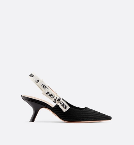 J'Adior slingback in black technical fabric aria_frontView