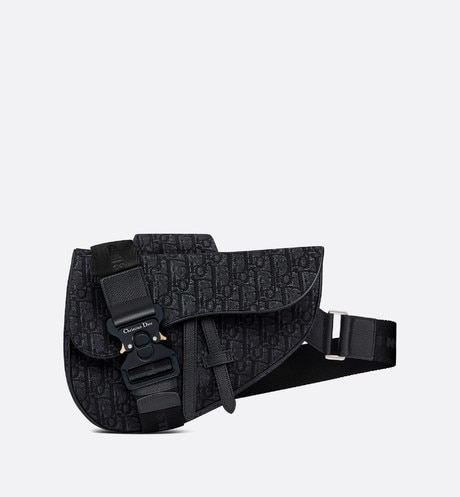 Bolso Saddle Dior Oblique negro aria_frontView