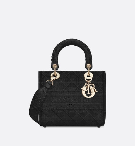 Medium Black Lady D-Lite Embroidered Cannage Bag aria_frontView