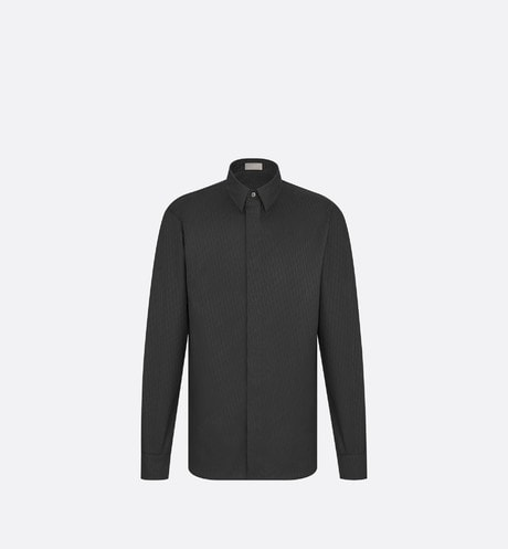 Black Dior Oblique Cotton Jacquard Dress Shirt aria_frontView