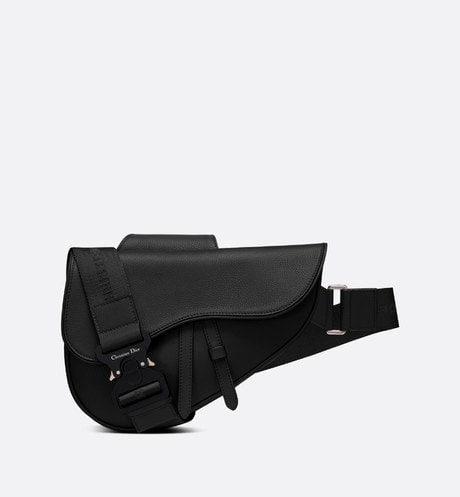 Saddle bag in black calfskin aria_frontView