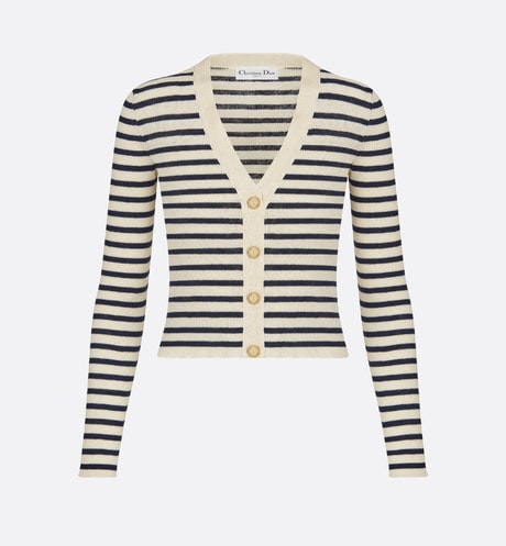 Buttoned Marinière Cardigan Front view