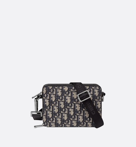Beige and Black Dior Oblique Jacquard Pouch aria_frontView