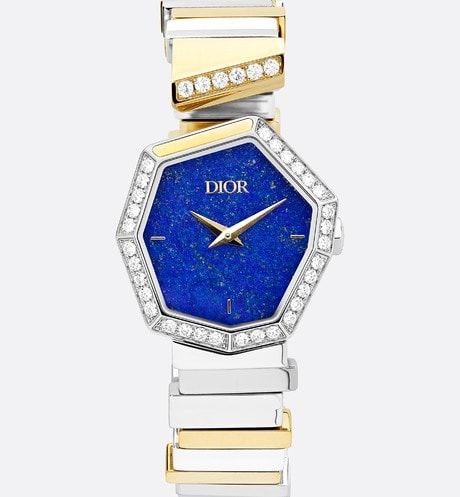 Steel, 18K Yellow Gold, Diamonds and Lapis Lazuli GEM DIOR Front view