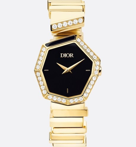 18K Yellow Gold, Diamonds and Onyx GEM DIOR Front view