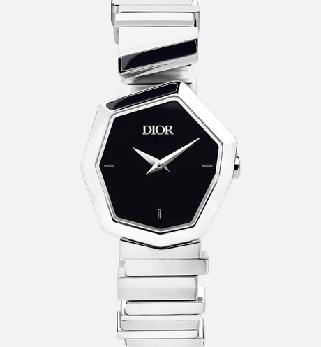 Steel and Black Mother-of-Pearl GEM DIOR Front view