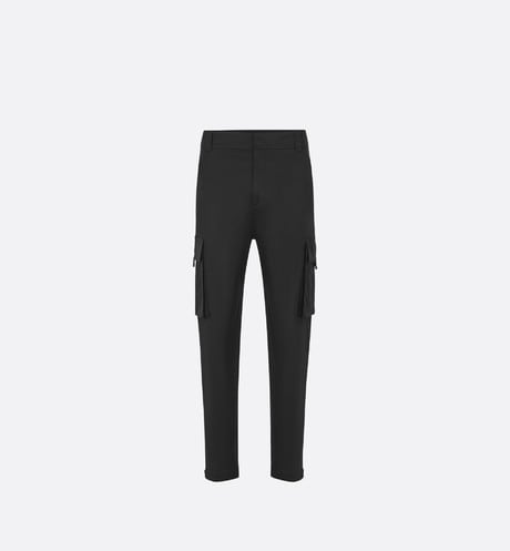 Black Stretch Cotton Gabardine Cargo Pants front view