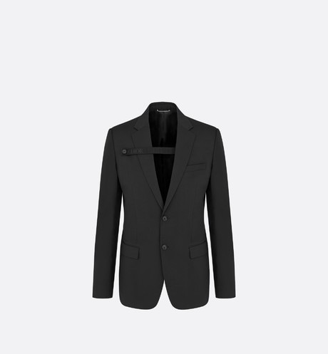 Black Virgin Wool Jacket with Button Strap front view