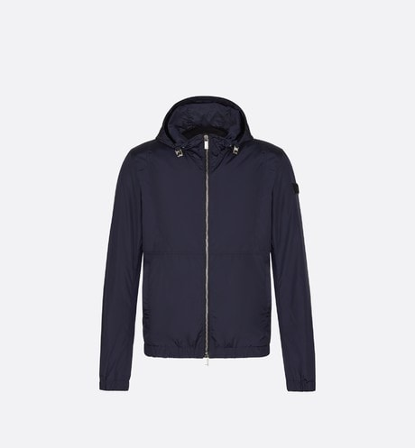 Blue Hooded Jacket with Logo Patch front view
