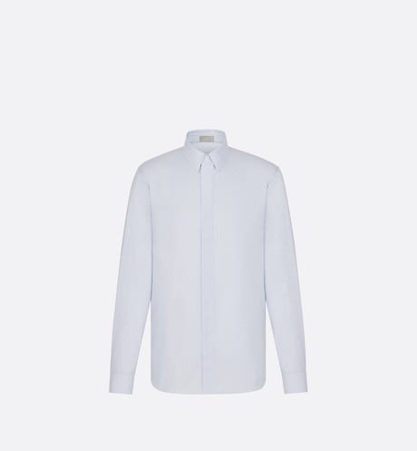 Blue Dior Oblique Cotton Jacquard Dress Shirt front view