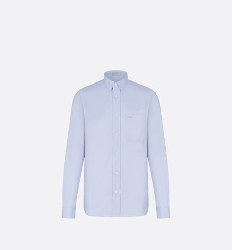 Blue 'Dior' Logo Button Down Oxford Cotton Dress Shirt front view