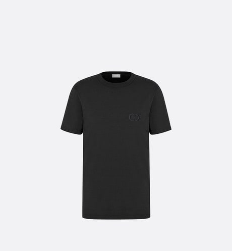 Black Cotton T-Shirt with 'CD Icon' Logo front view