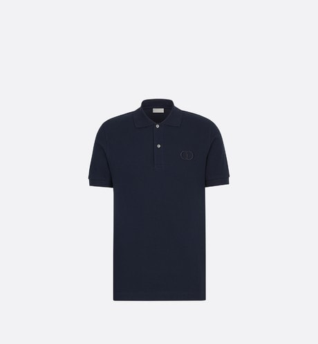 Navy Cotton Piqué Polo Shirt with 'CD Icon' Logo front view