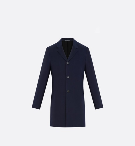 Navy Single-Breasted Cashmere Coat front view