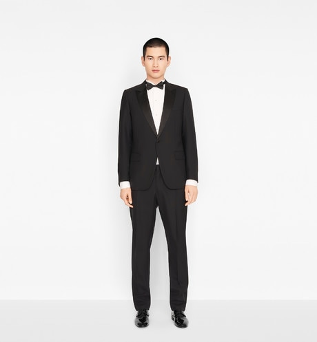 Peak Lapel Tuxedo in black Grain de Poudre Wool front view
