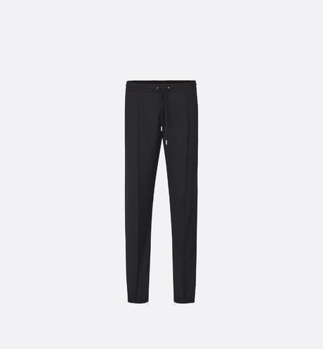 Black Virgin Wool Twill Jogger Pants front view