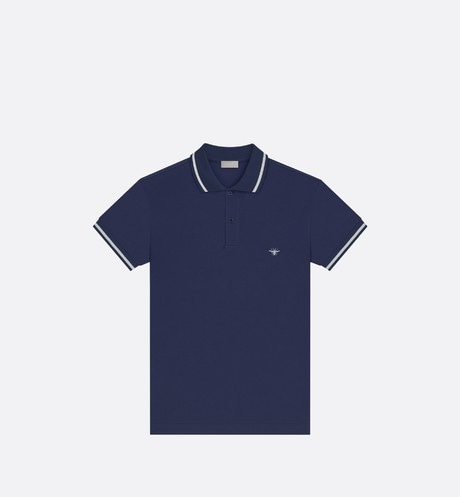 Navy Cotton Piqué Polo Shirt with Bee Emblem front view