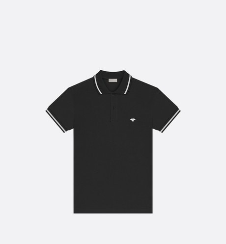 Black Cotton Piqué Polo Shirt with Bee Emblem front view