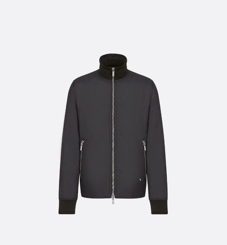 Black Zip-Front Jacket with High Collar front view