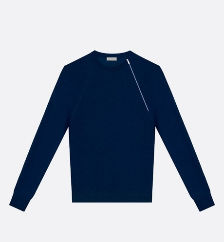 Blue Virgin Wool Sweater with Asymmetric Zip front view