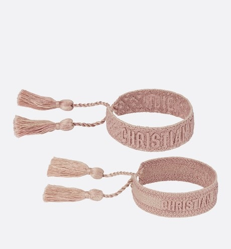 Pink J'Adior Dior Oblique Cotton Bracelet Set front view